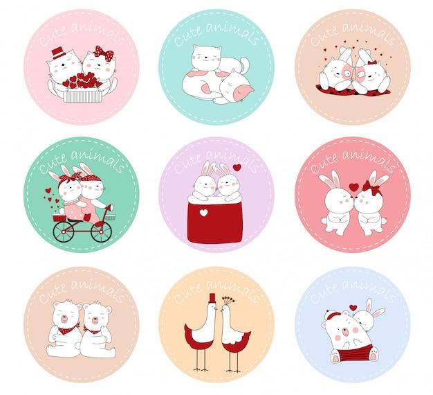Etiqueta con los animales de dibujos animados de postura linda bebé. dibujado a mano el día de san valentín.