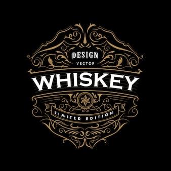 Etiqueta antigua insignia vintage dibujado a mano marco tipografía diseño retro