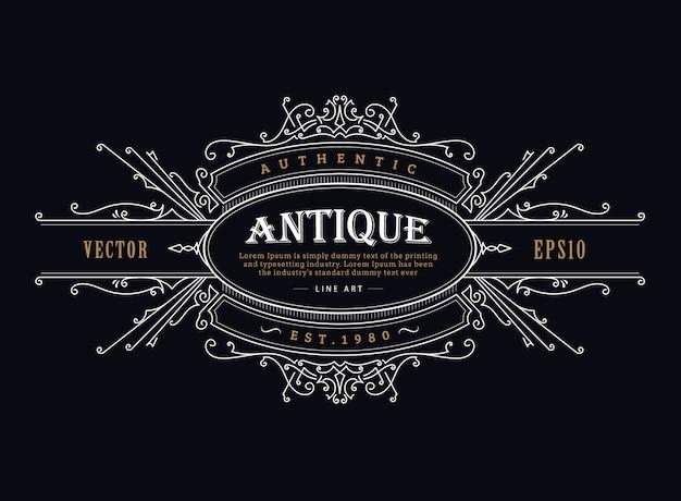 Etiqueta antigua insignia vintage marco dibujado a mano diseño retro