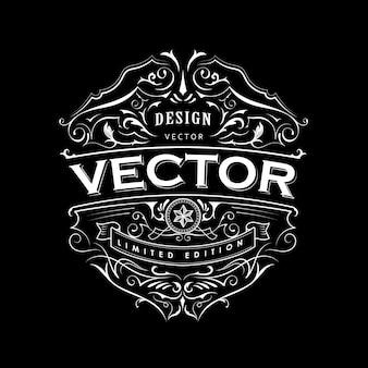 Etiqueta antigua tipografía insignia vintage diseño de marco dibujado a mano