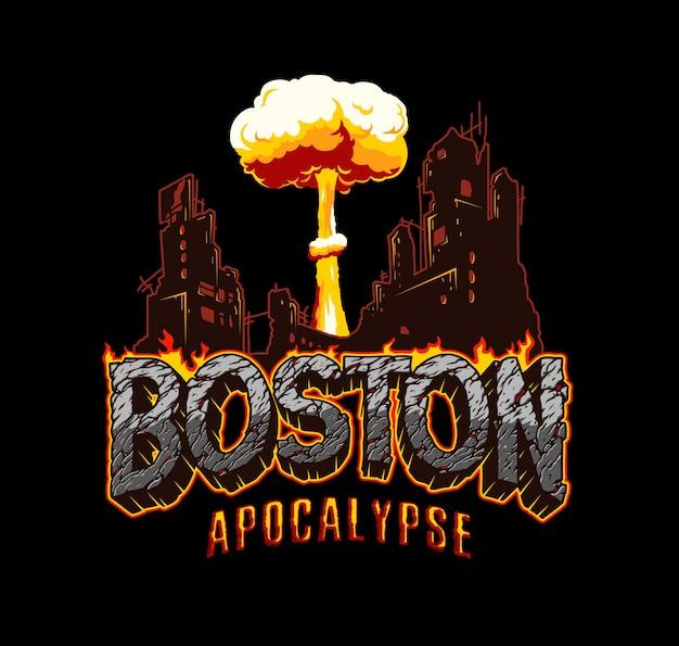 Etiqueta de apocalipsis vintage de boston