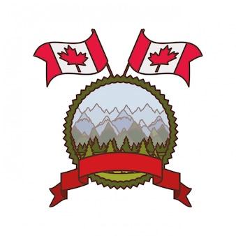 Etiqueta del árbol de pino y símbolo de canadá