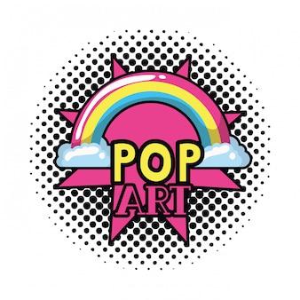 Etiqueta de arte pop arcoiris con nubes