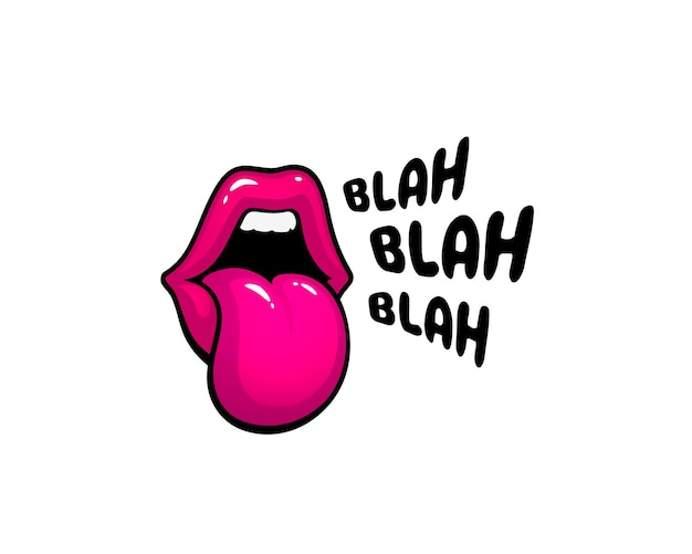 Etiqueta autoadhesiva lip blah. un beso de mensaje. labios rojos. ilustración vectorial