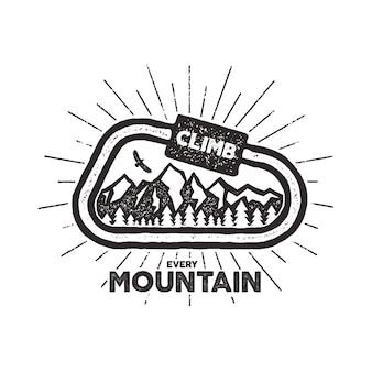 Etiqueta de aventura al aire libre de vector. diseño vintage con texto y símbolos de escalada - mosquetón, montañas. tipografía emblema de impresión de camiseta de aventura al aire libre aislado sobre fondo blanco. efecto de tipografía