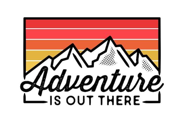 Etiqueta de aventura, monoline, line art, badge design.