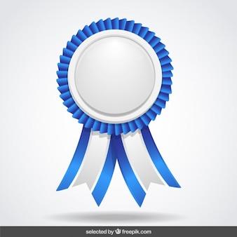 Etiqueta azul y blanco con cintas