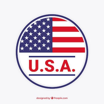 Etiqueta de bandera americana