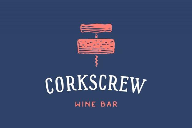 Etiqueta de bar de vinos con sacacorchos