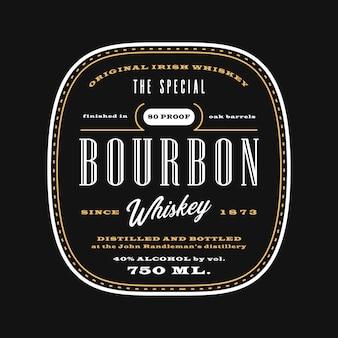 Etiqueta de bebida de alcohol occidental vintage, pizarra de plantilla de etiqueta de whisky bourbon