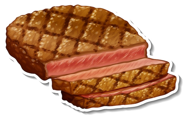 Una etiqueta de bistec frito sobre fondo blanco.
