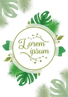 Etiqueta blanca con follaje de hojas verdes