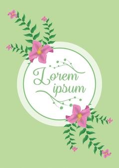 Etiqueta blanca con hojas verdes y follaje de flores rosadas