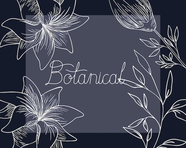 Etiqueta botánica con icono de plantas aisladas