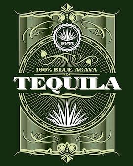 Etiqueta de botella de bebida de tequila alcohol vintage