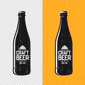 Etiqueta de botella de cerveza artesanal con textura