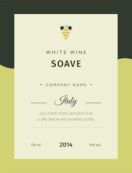 Etiqueta para una botella de vino, vasos y un racimo de uvas