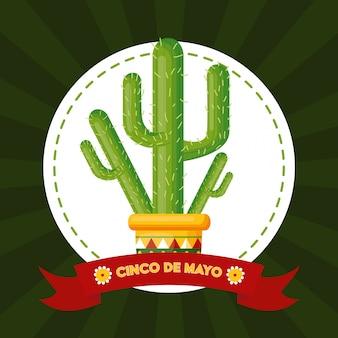 Etiqueta de cactus, cinco de mayo, ilustración de méxico