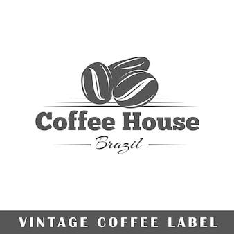 Etiqueta de café aislada sobre fondo blanco. elemento. plantilla para logotipo, señalización, marca.