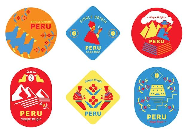 Etiqueta de café de perú de origen único con gente local