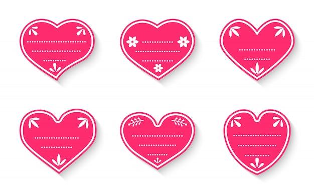 Etiqueta de caja de regalo de precio de papel rojo con cable plano. corazón formas artesanales día de san valentín venta etiquetas de compras con cuerda. plantilla de marcos decorados vintage en blanco cartón aislado