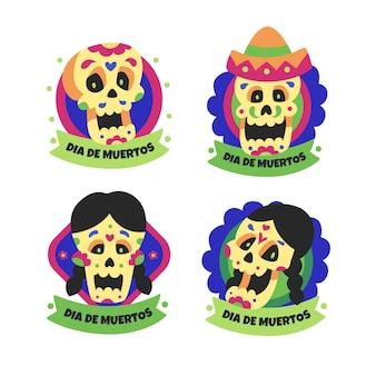 Etiqueta de calaveras de niños y niñas de dia de muertos