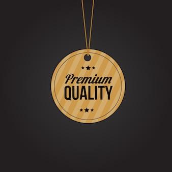 Etiqueta de calidad premium para ropa y otros productos.