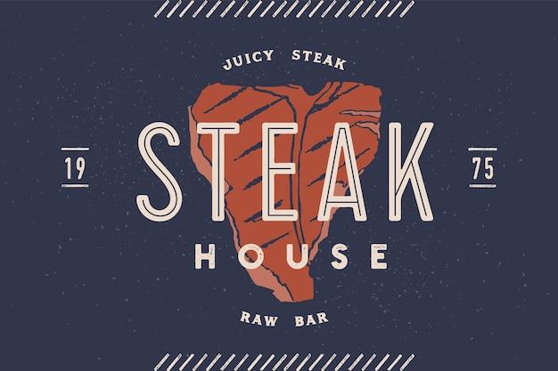 Etiqueta de carne con logo de bistec con silueta de bistec