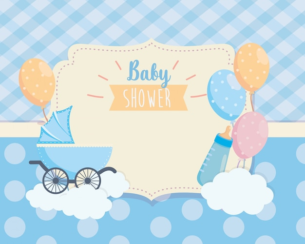 Etiqueta de carro de bebé y decoración de globos.
