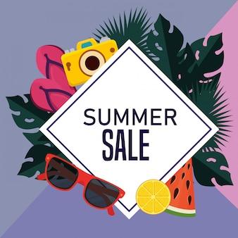 Etiqueta de cartel de venta de verano tropical.