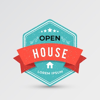 Etiqueta de casa abierta azul