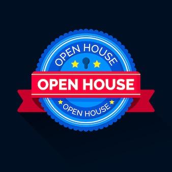 Etiqueta de casa abierta con banner