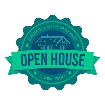 Etiqueta de casa abierta de bienes raíces