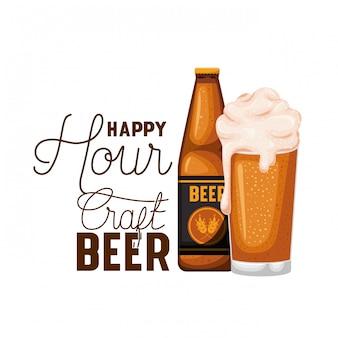 Etiqueta de cerveza artesanal hora feliz con el icono de botella