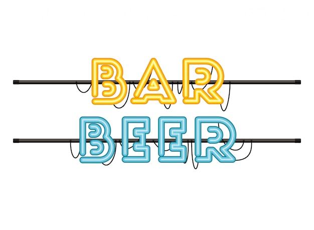 Etiqueta de cerveza bar en icono aislado luz de neón