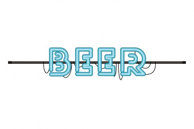 Etiqueta de la cerveza en el icono aislado luz de neón