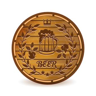 Etiqueta de cerveza en la ilustración de vector de barril de madera