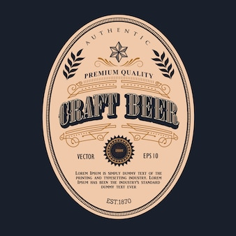 Etiqueta de cerveza marco antiguo vintage frontera occidental retro ilustración