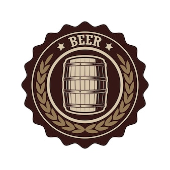 Etiqueta de cerveza vintage con barril de madera