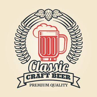 Etiqueta de cerveza vintage con corona de lúpulo de vidrio