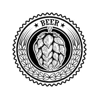 Etiqueta de cerveza vintage con lúpulo