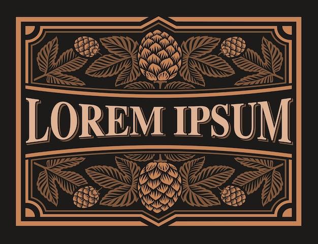 Etiqueta de cerveza vintage con ramas de lúpulo en el fondo oscuro