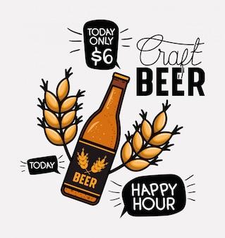 Etiqueta de cervezas happy hour con botella y hojas