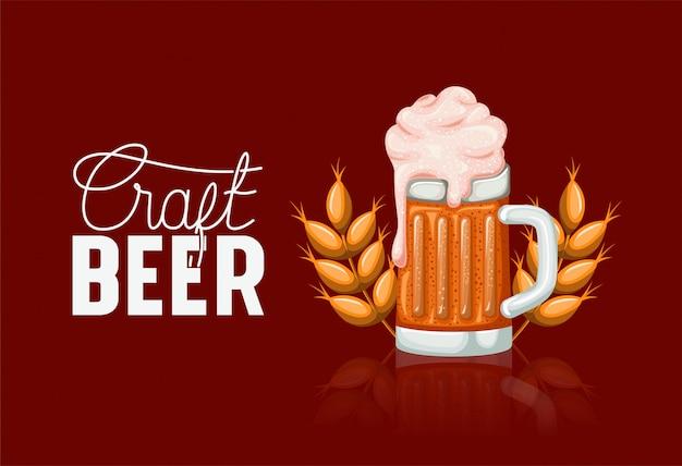 Etiqueta de cervezas happy hour con jarra y espigas