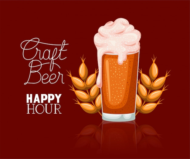 Etiqueta de cervezas happy hour con vidrio y espigas
