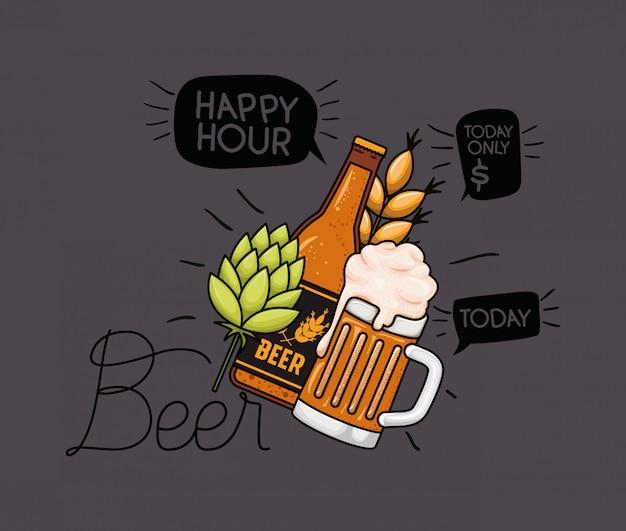 Etiqueta de cervezas hora feliz con jarra y botella