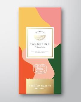 Etiqueta de chocolate mandarina.