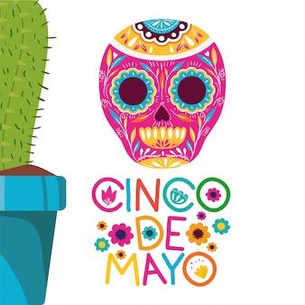 Etiqueta del cinco de mayo con el icono de cactus.