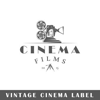 Etiqueta de cine aislada sobre fondo blanco. elemento de diseño. plantilla para logotipo, señalización, diseño de marca.