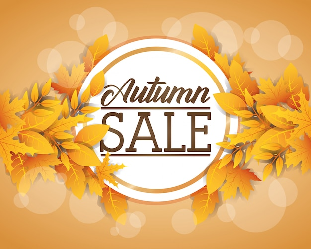 Etiqueta circular de venta de otoño